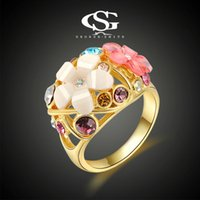 big colorful flower rings - 015 G S New Fashion K Gold Plated Big Flower Rings Crystal Women Colorful Rings Manufactory
