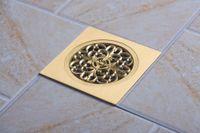 Wholesale e pak Hello Modern Design Golden Polished Square Floor Drain dreno de assoalho Water Waster Drain Solid Brass New