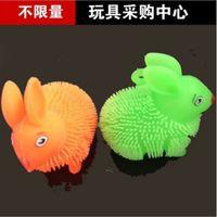 Wholesale Flash Maomao light colorful rabbit fur ball vent ball children toy stall goods