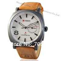 Wholesale CURREN Men Military Watches Sports Watch with Leather Strap Quartz Analog Fashion Casual Dress Wristwatches COLORS