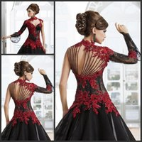 Wholesale DW Gothic Wedding Dresses Red and Black Ball Gown High Neck Lace Applique Beading Paolo Sebastian Bridal Sheer Back Wedding Bride Gowns