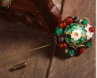 Wholesale Cloisonne Agate Retro Accessories Classical National Style Sweater Brooch Shawl Pins