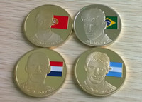 Wholesale New design The famous four football stars Messi Robben Neymar Ronaldo gold plated souvenir coin