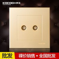 Wholesale KOCOO Carolan F8 champagne switch socket double double closed Cable TV TV socket panel