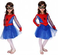 Wholesale For Years Children Red Blue Spider Girl Halloween Carnival Cosplay Costuems Disounted Baby Kids Spiderman Party Dresses