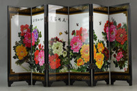 Wholesale Old Chinese Handwork Lacquer Painting Beautiful Blooming Peony Vivid Screen