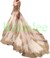 Wholesale Two Pieces Wedding Dresses Cinderella Arabic Gold Lace Beads Luxury V Neck Chapel Train Vintage Bridal Gowns With Sleeve