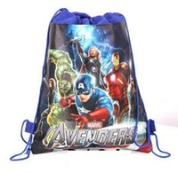 backpacks favors - 20pc new style Christmas Non woven Avengers Backpacks Printed School bag shopping bag birthday Party Favors nice gift design J01