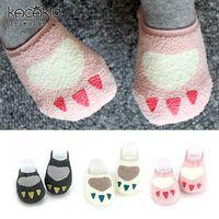 Wholesale Children Socks New Baby Cartoon Foot Socks for Boys Girls Korean Fashion leg Warmer baby Booties Antistik kids Socks White Pink Grey A4855