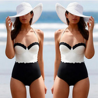 Wholesale 2016 New women bikini Swimwear one piece sexy lace black and white Double color stitching swimsuit ms beach bathing suit