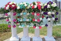 plastic columns - New Height cm inch Roman Road Lead Rome Plastic Column Style With Flower And Flower Pot For Wedding Mall Opened Props
