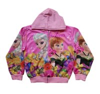 Wholesale Frozen cute coat Girl Anna Elsa Princess Hoodies jacket zipper coat Girl Anna Elsa Princess Hoodies