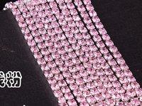 base metal chains - rhinestones chain ss12 rhinestone cup chain pink rhinestones with silver metal base yards A quality shinning rhinestones