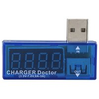 Wholesale New Hot Blue Portable USB Power Portable Mini Current and Voltage Tester Detector G0557 W0
