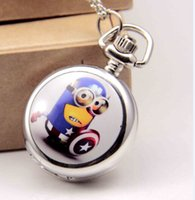 Wholesale Despicable Me pocket watch Cartoon Big Eyes Yellow minion despicable me necklace pocket watches