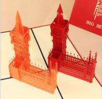 big greeting cards - 5pcs Big Ben Handmade Kirigami Origami D Pop UP Greeting Cards For Wedding Birthday Party Gift
