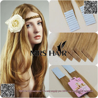 Wholesale 27 quot quot quot tape in hair extensions remy pieces light brown New star adhesives for hair