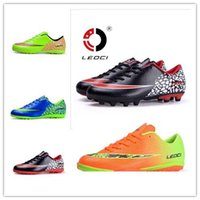 Cheap Mens Boys FG TF Football Shoes Sport Soccer Shoes Outdoor Sneakers Kids Athletic Trainers Futsal Shoes LEOCI Multi-Colors 33~44