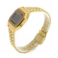 auto weight - New Metal Gold Silver LED Wristwatches Light Weight Slim Delicate and Water Resistant Sports Watch Durable Stainless Steel Watchbands J0220