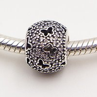 Cheap 925 Sterling Silver Abstract Micro Pave Charm Bead with Clear Cz Fit European Pandora Jewelry Bracelets & Necklace