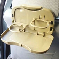 Wholesale Auto Car Brown Plastic Folding Food Meal Mini Table Tray Drink Cup Holder Car Seats convenience