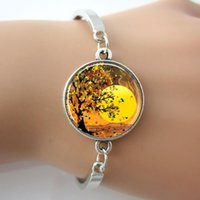 autumn sunset - Autumn Bracelet Tree Bangle Sunset Bracelet Glass Dome Jewelry Tree Of Life New Fashion Silver plated Metal Bangle For Women