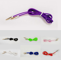 Wholesale Hot PC mm aux Stereo Auxiliary Cable Male to Male Flat Audio aux cable Music Aux Cord MIni Colors Portable Accessories