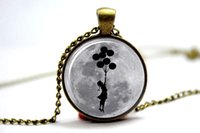 american balloons - 10pcs Banksy balloon girl on moon Necklace Glass Photo Cabochon Necklace