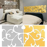 bedroom sets free shipping - New Arrivals set Wall Stickers Wallpaper Decal Acrylic Mirror Floral Home Decor Removable Size CM JM3