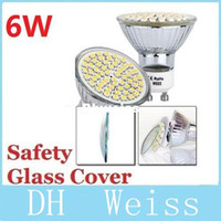 Cheap 6W Safety Glass Cover GU10 Led Bulbs Light 60 Leds 3528 SMD Cool White Warm White E27 MR16 Led Spotlights Lamp 110V 220V 12V CE ROHS