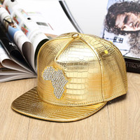 africa baseball hat - Summer Hiphop Leather Cap Leopard Patchwork Snap Back Gorras Baseball Caps Casual Adjustable Map of Africa Diamond inlay Hat