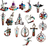 Wholesale Hot Newest Natural Crystal Gemstone Pendant For Necklace Inlaid Stones Seven Chakra Religious Alloy Personality Natural Jewelry