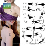 Wholesale Temporary tattoos Waterproof tattoo stickers body art Painting for party decoration black long tail cat