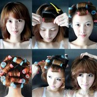 Wholesale 6pcs set Grip Cling Hair Styling Roller Curler Hairdressing tool Soft DIY Sizes GAQ