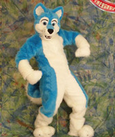 Wholesale Professional Blue Wolf Long Fur mascot Costume Adult Size Fancy Dress Cartoon Costumes EMS