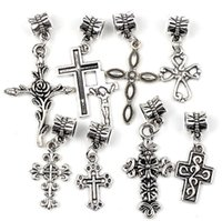 antique silver roses - 6Styles Antique Silver Assorted Cute Rose Cross Charms Dangle Big Hole Beads Fit European Bracelets Jewelry DIY