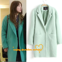 Wholesale Wool Coat Femal New Designer Fall Winter Fashion Women Clothing Classic Mint Green Lapel Double Pocket Warm Coats Women