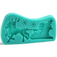 best sleds - 2015 New arrival Hot sale best quality New Delicate Silicone Non toxic Santa Claus Sled Deer Flexible Fondant Cake Mold Tools