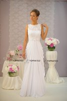 beach necklaces - 2015 New Beach Empire Wedding Dresses Bridal Gown With Sheath Sheer Necklace Lace Handmade Flowers Draped Ivory Chiffon Cheap