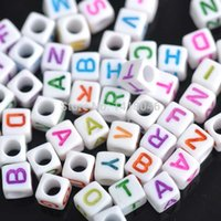 alphabet pony beads - hot White Mixed Letter Alphabet Cube Acrylic Pony Beads Fit Jewelry making mm YL1004