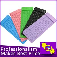 Wholesale-10pcs / lot 84keys muy conveniente plegable flexible impermeable de silicona suave teclado Bluetooth inalámbrico 2.4G para la PC de la tableta
