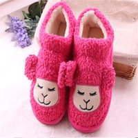 Wholesale 1pair free ship woman keep warm cotton shoes flange postpartum shoes flat cartoon sheep cozy indoor slippers rose pink blue brown khaki gray
