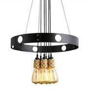american kitchen design - New design Loft Vintage Iron Art Pendant Light Edison American Country Style Round E27 Dining Room Cafe Bar Fixture Lamp lustres de sal