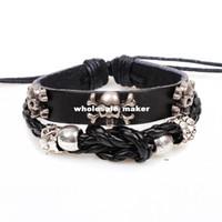 beads manufacturers - Original design punk personality skull bracelet beaded bracelet Shamballa jewelry hot sale manufacturers supply