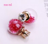 Wholesale 2015 Hot Summer Style Glass Stud Earrings Double Side Glass Ball Crack Mosaic Crystal Crown Earrings for women Cheap jewelry Charms Earrings