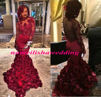 backless bra with straps - 2016 Mermaid Prom Dresses Long Sleeve Romantic Dark Red Sexy Illusion Evening Gowns Rose Floral Ruffles Sheer Applique With Bra Sweep Train