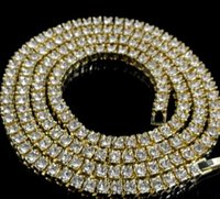 Wholesale Mens k Gold Iced Out Row Tennis Chain HipHop Necklace Bling Steampunk Necklace