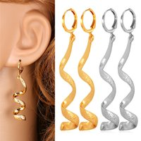 Wholesale MGC Spiral Long Earrings New Drop K Real Gold Platinum Plated Summer Jewelry Gift For Women E258