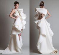 dubai - 2015 Dubai Arabic High Low Wedding Dresses Fall Winter Popular Crew Appliques Lace Organza Bridal Gowns In Short Front And Long Back VT