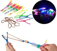 Wholesale New Style Big Led Flyer Toys Light Up Slingshot Umbrella Helicopter Toy Children Love Shine Light Toys